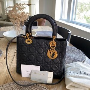 Dior lady lambskin medium bag